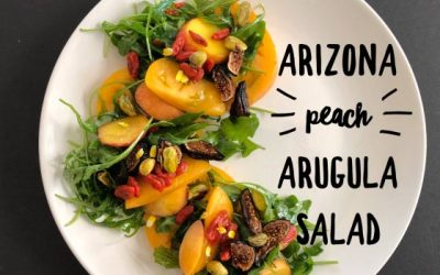 A New View of Healthy Eating: Plant-Based Recipes by Melanie Albert: Summer Salad: Arizona Peach Tomato Arugula Salad