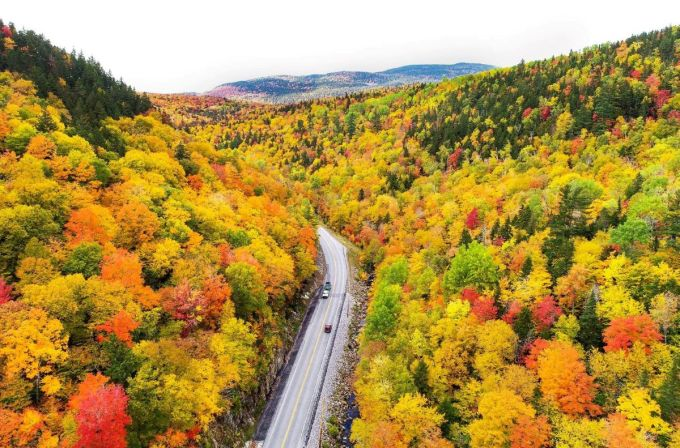 Fall foliage leaves change color, Maine