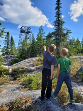 Hiking Bald Mountain tower, Rangeley Oquossoc Maine