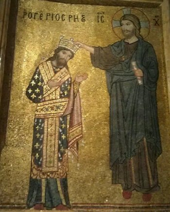 Roger II being crowned King of Sicily, Mosaic from the Martorana in Palermo