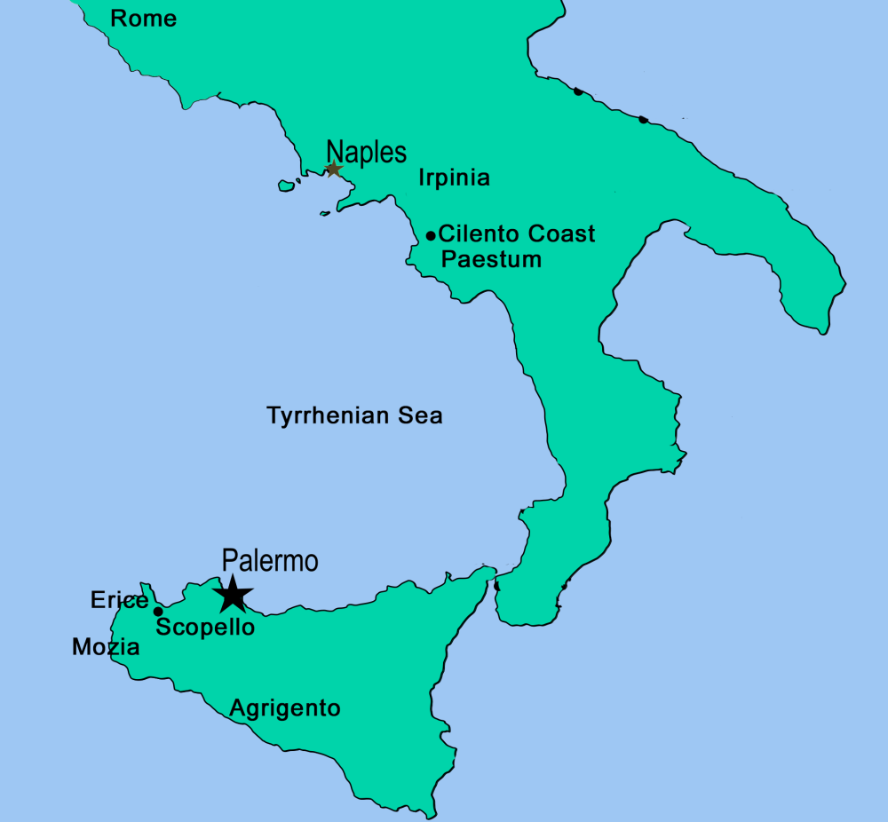 Southern Secrets: Campania and Sicily's Hidden Corners Map