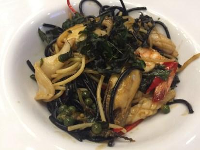 Black and white mushroom and shrimp linguine