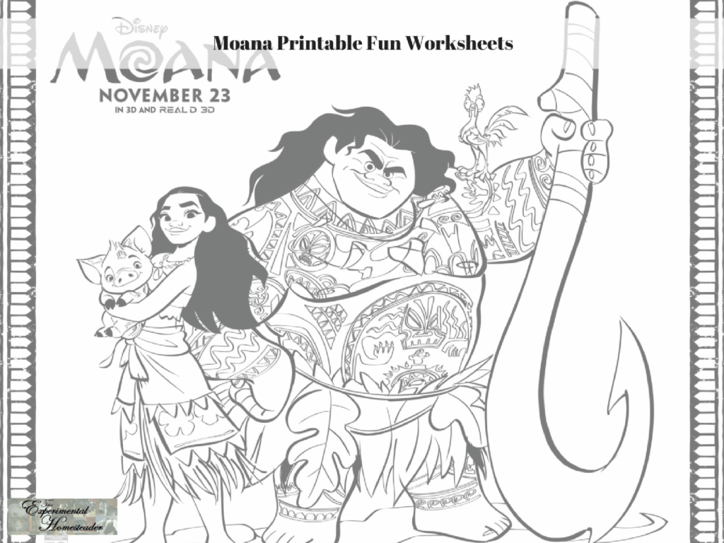 Moana Printable Fun Worksheets