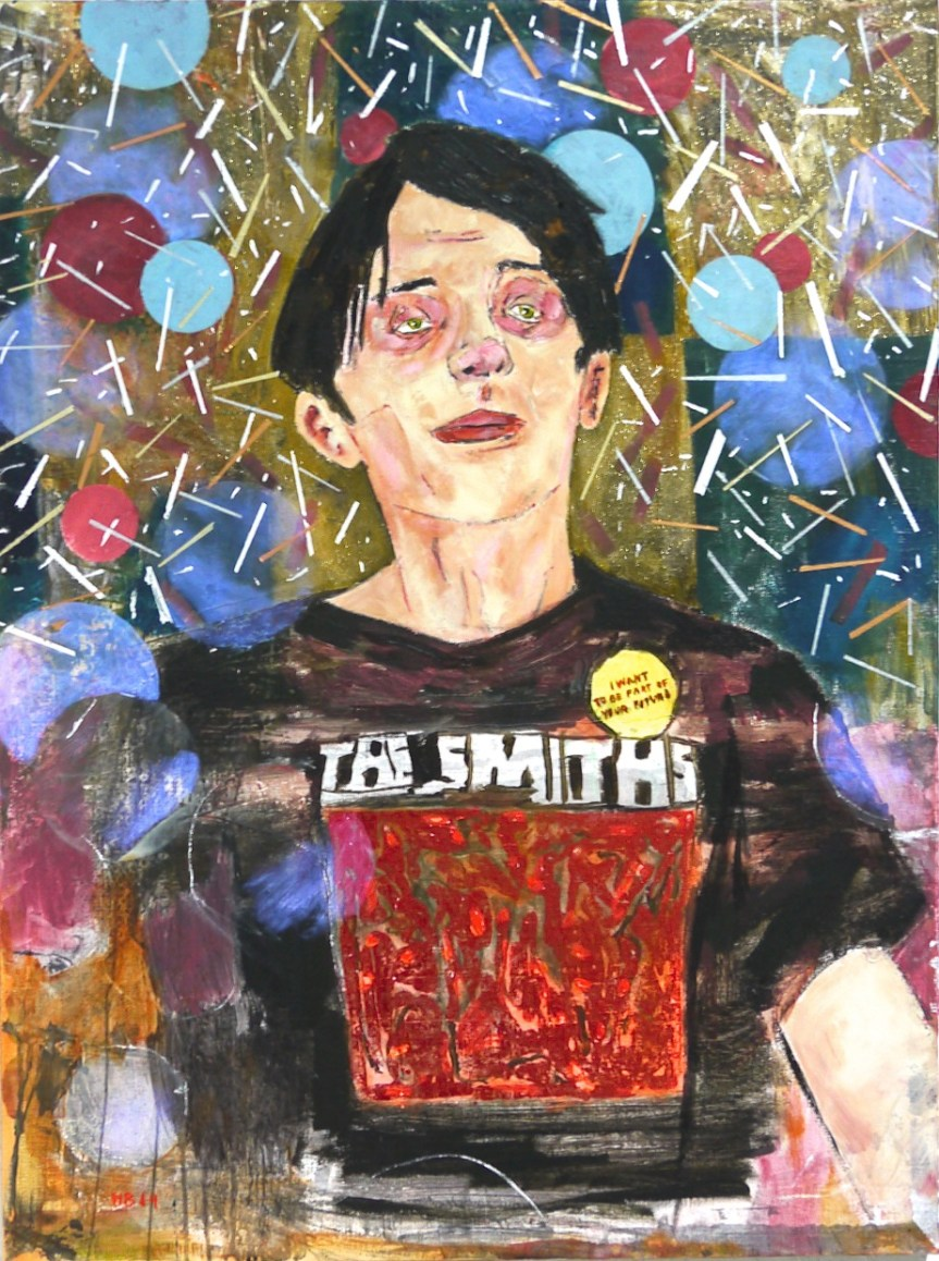 Hernan Bas Gregory grinning (The Smiths, 1983) Acrylic and metal foil on linen 40 x 30 in (101.6 x 76.2 cm) 2014 https://paddle8.com/artists/hernan-bas/