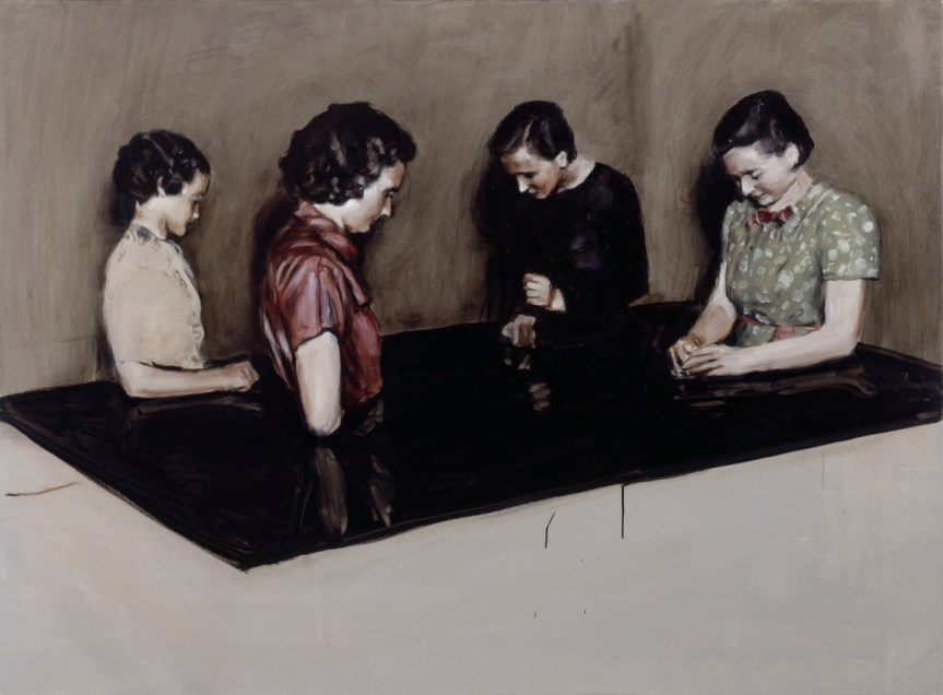 Michaël Borremans Four Fairies oil on canvas 110 x 150 x 3 cm (43 x 59 x 1 in) http://start.zeno-x.com/zeno_x_gallery/exhibitions/exhibitions/2004_MB/2004_MB_works/slides/MB2003_13.html 2003