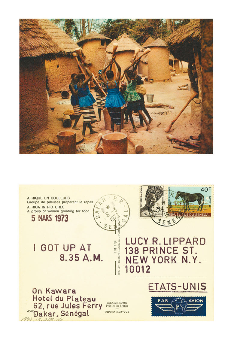 On Kawara 5 MARS 1973 From I Got Up, 1968–79 Stamped ink on postcard, 4 × 5 inches (10.2 × 12.7 cm) New Mexico Museum of Art, Santa Fe, New Mexico, Gift of Lucy R. Lippard, 1999