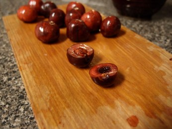 Cherries on Cutting Board
