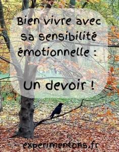 Bien vivre avec sa sensibilité émotionnelle : Un devoir !