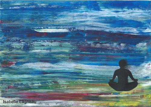Silhouette assise sur fond abstrait