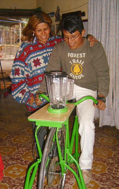 Foto eines fahrradbetriebenen Mixers