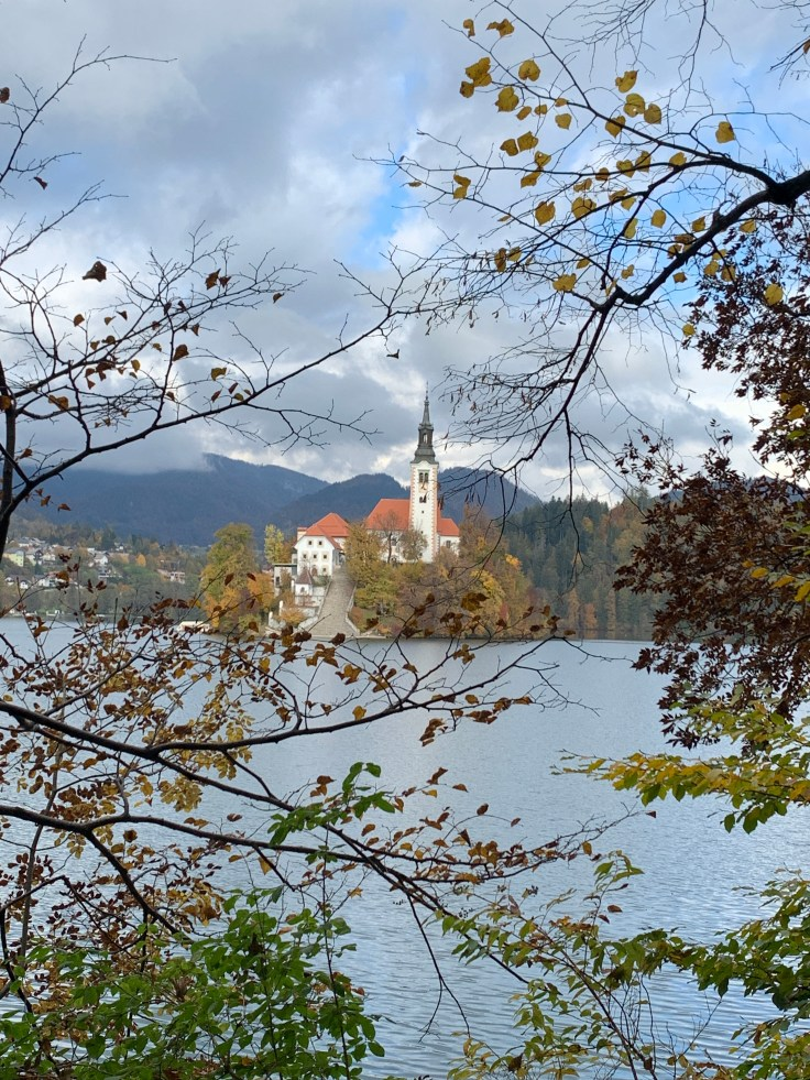 church seen through Autumn leaves