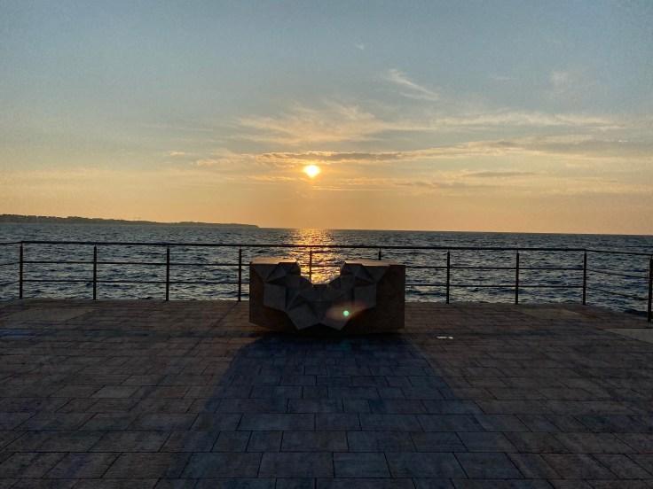 sunset, sea, sculpture