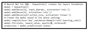 Figure 3: Keras code snippet for DQN implementation