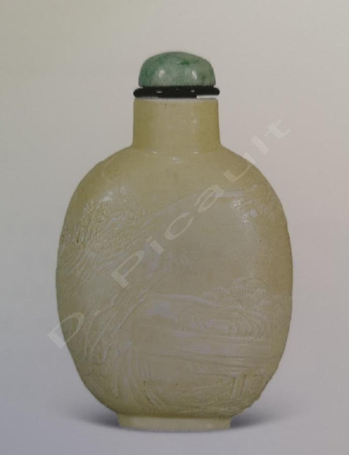 Tabatière chinois en Jade blanc époque Qing