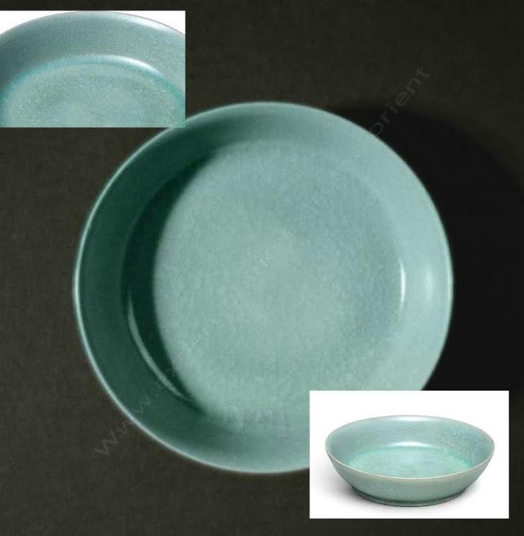 Plat lave pinceau en céramique des fours de RU de la dynastie des Song.