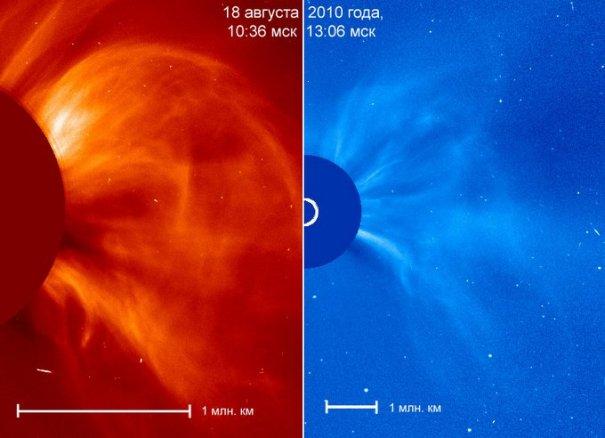Выброс вещества на Солнце 18 августа 2010 года