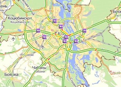 Яндекс.Пробки — информация о том, насколько загружены улицы города
