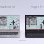 Microsoft в рекламе Lenovo Yoga 3 Pro указала на техническое несовершенство MacBook Air