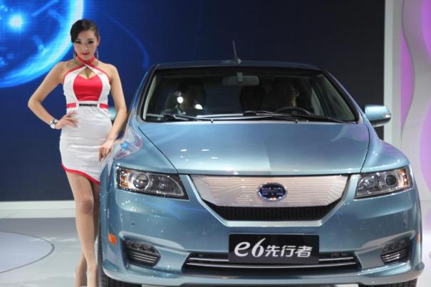 BYD electric car with girl