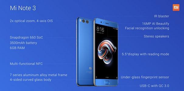 Xiaomi представила Mi Note 3 с двойной камерой