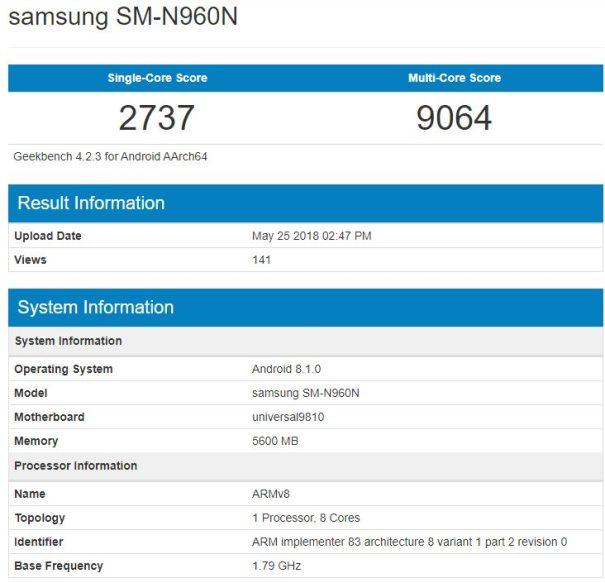 Samsung Galaxy Note 9 geekbench