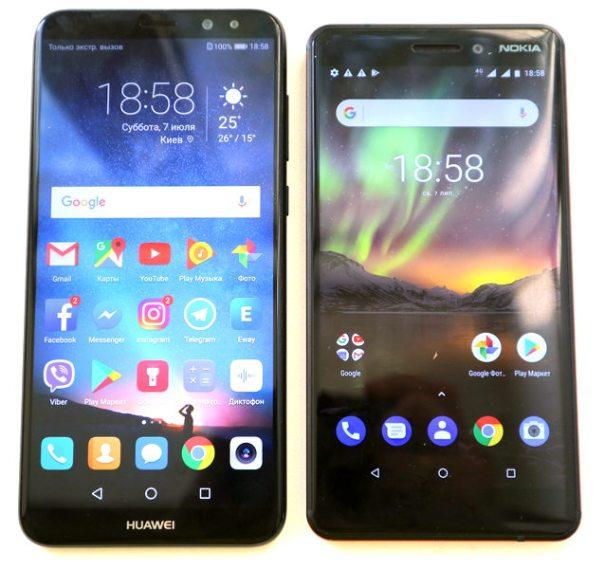 Nokia 6.1 и Huawei P10 Lite