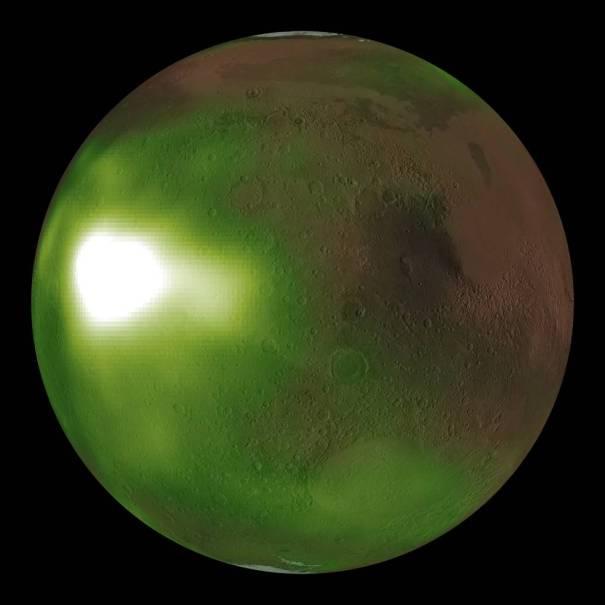 ультрафиолетовое свечение ночного Марса