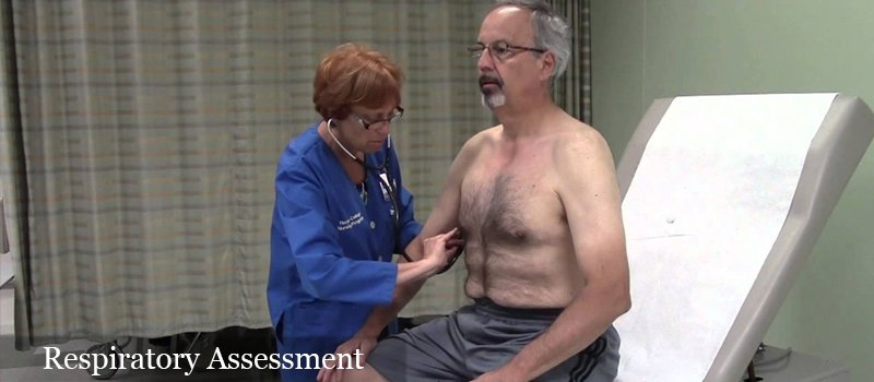 respiratory assessment of an old male patient""