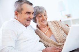 Senior couple surfing the net
