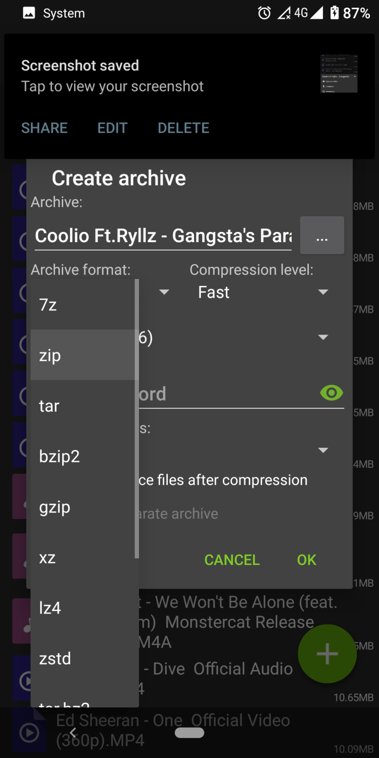 How to compress files on Android