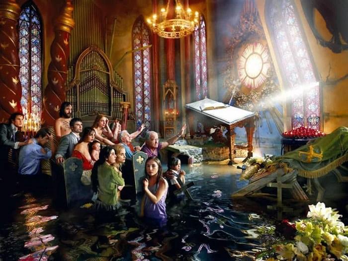 David LaChapelle hype tir réaliste d'une église inondée