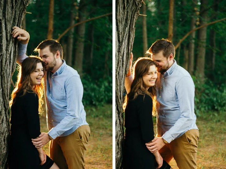 Diptych photo of a couple posing outdoors demonstrating natural hand poses for photography
