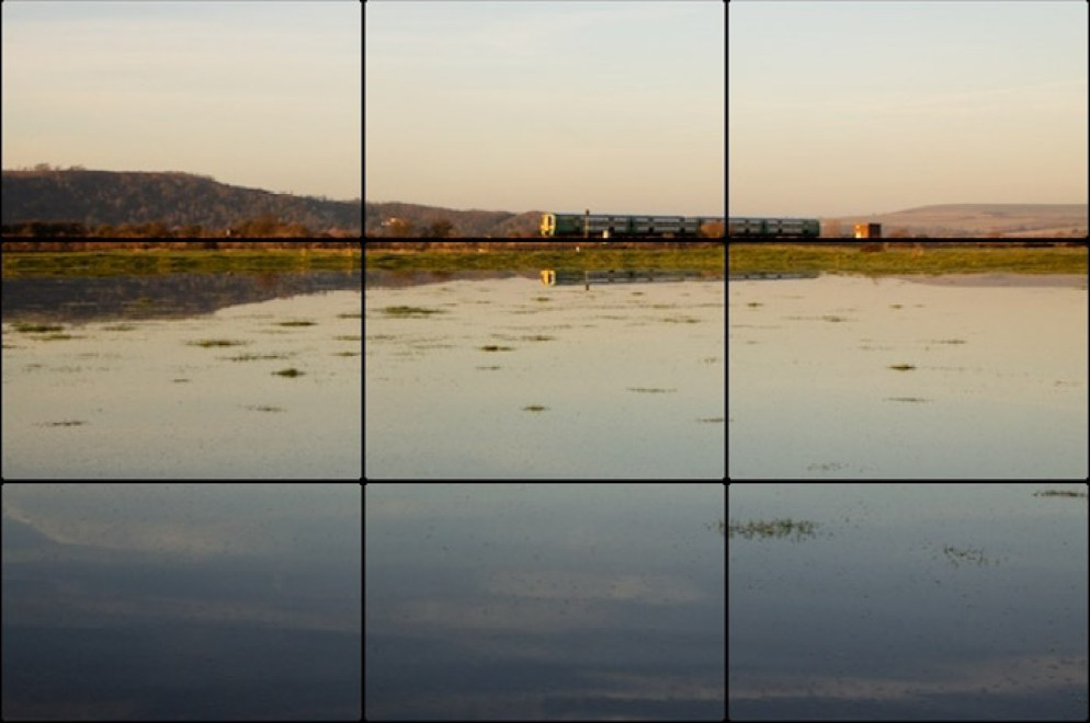 The rule of thirds photography composition grid overlaid on a seascape photo