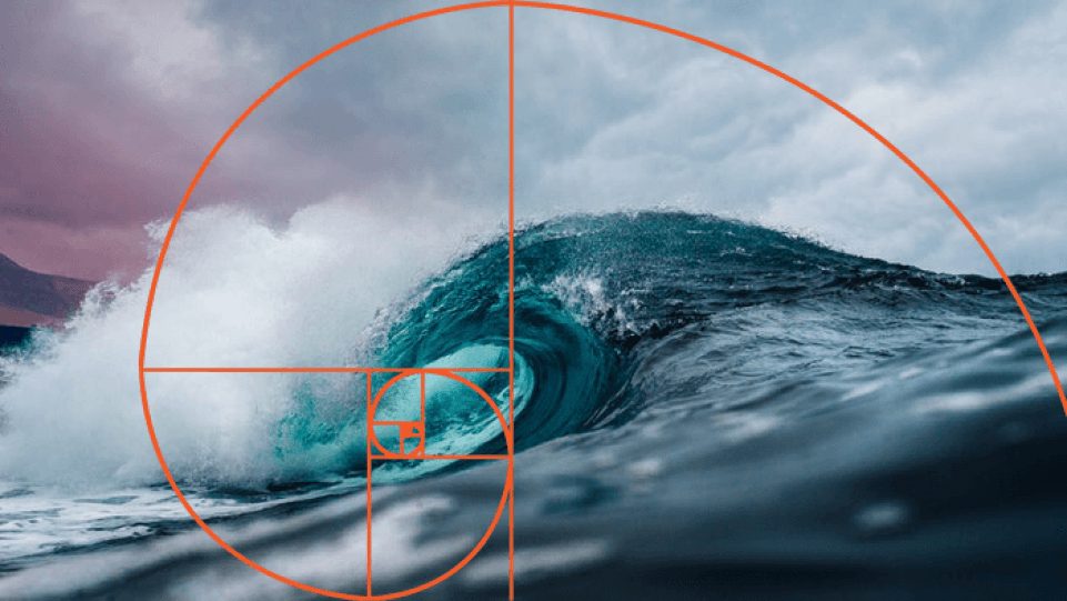An ocean wave overlayed with golden ratio composition grid