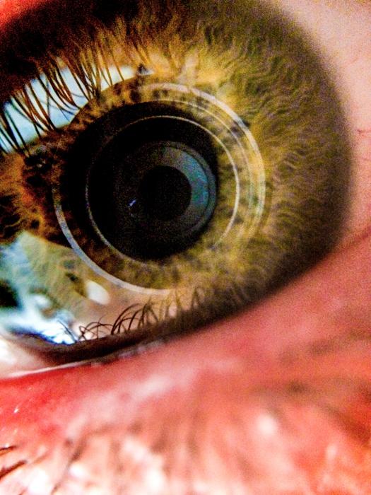 closeup photo of the human eye