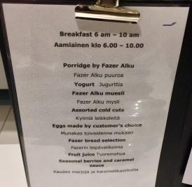 Finnair-Premium-Lounge-breakfast-menu-round-world-trip