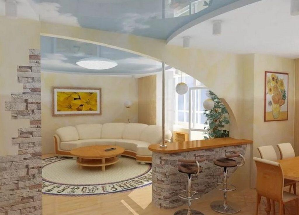 кухня-гостиная зонирование аркой