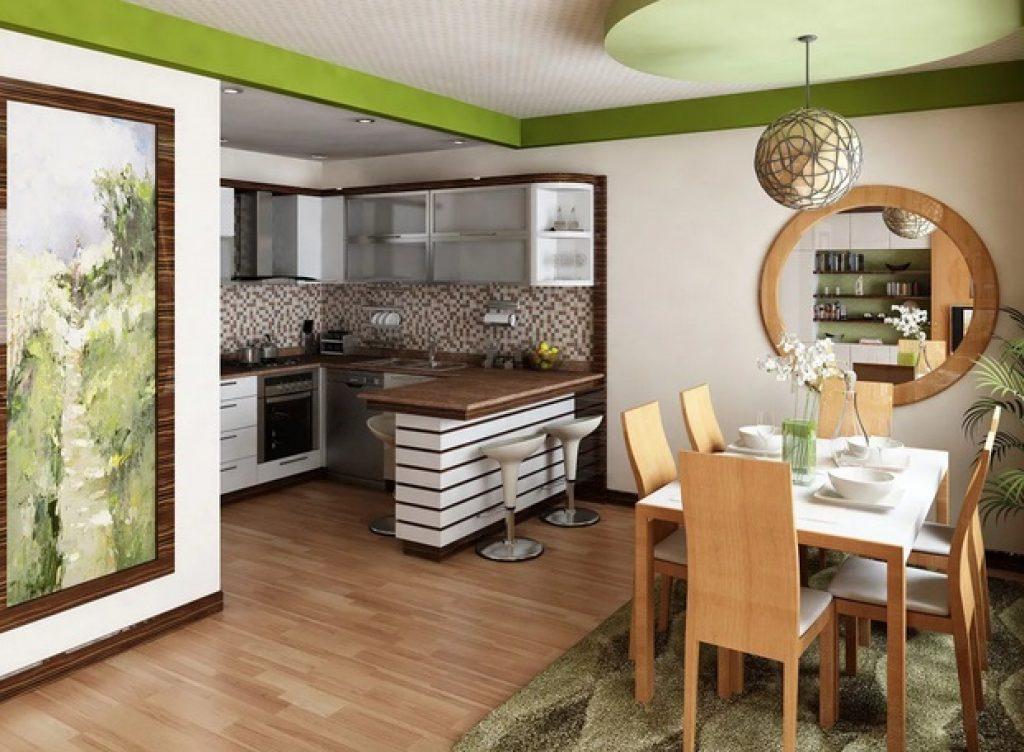 кухня-гостиная зонирование