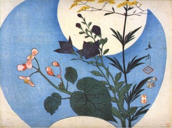 Hiroshige - Autumn flowers in front of full-moon