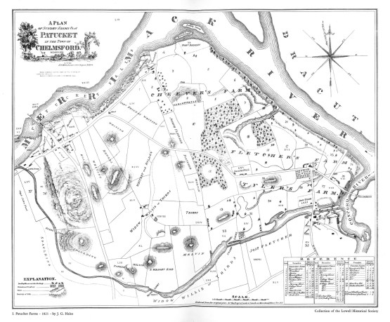 The Patucket Farms map of 1821 by J.G. Gales, showing the Town of Chelmsford, the future site of the city of Lowell (Source: University of Massachusetts and Lowell Historical Society)