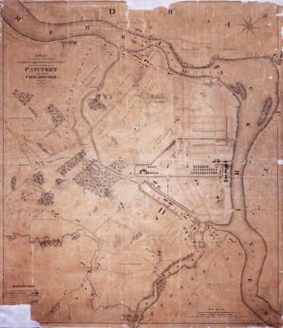 The Patucket Farms map of Chelmsford, with the start of development of the industrial town (Source: University of Massachusetts & Lowell Historical Society).