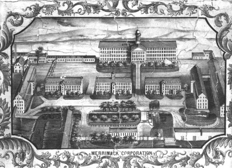 The Merrimack Manufacturing Company ('Merrimack Mills') represented in a drawing from 1850 (Source: Historical Society).