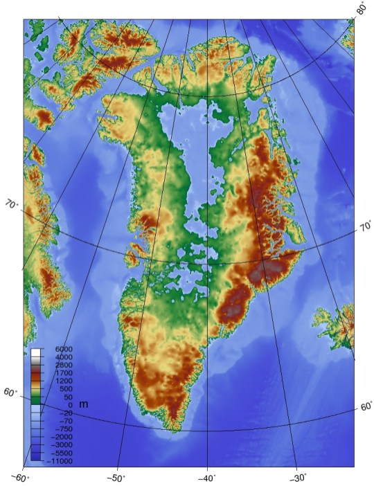 The topographic map of Greenland without its ice sheet (Skew-t, Wikimedia Commons 2010)