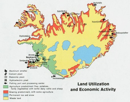 [Credit: University of Texas Libraries, Iceland - Land Utilization and Economic Activity, from CIA Map No. 500975]