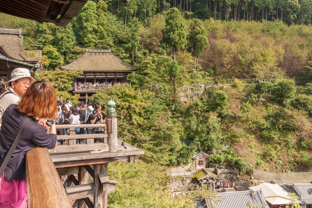 Tourists at Kiyomizudera's veranda