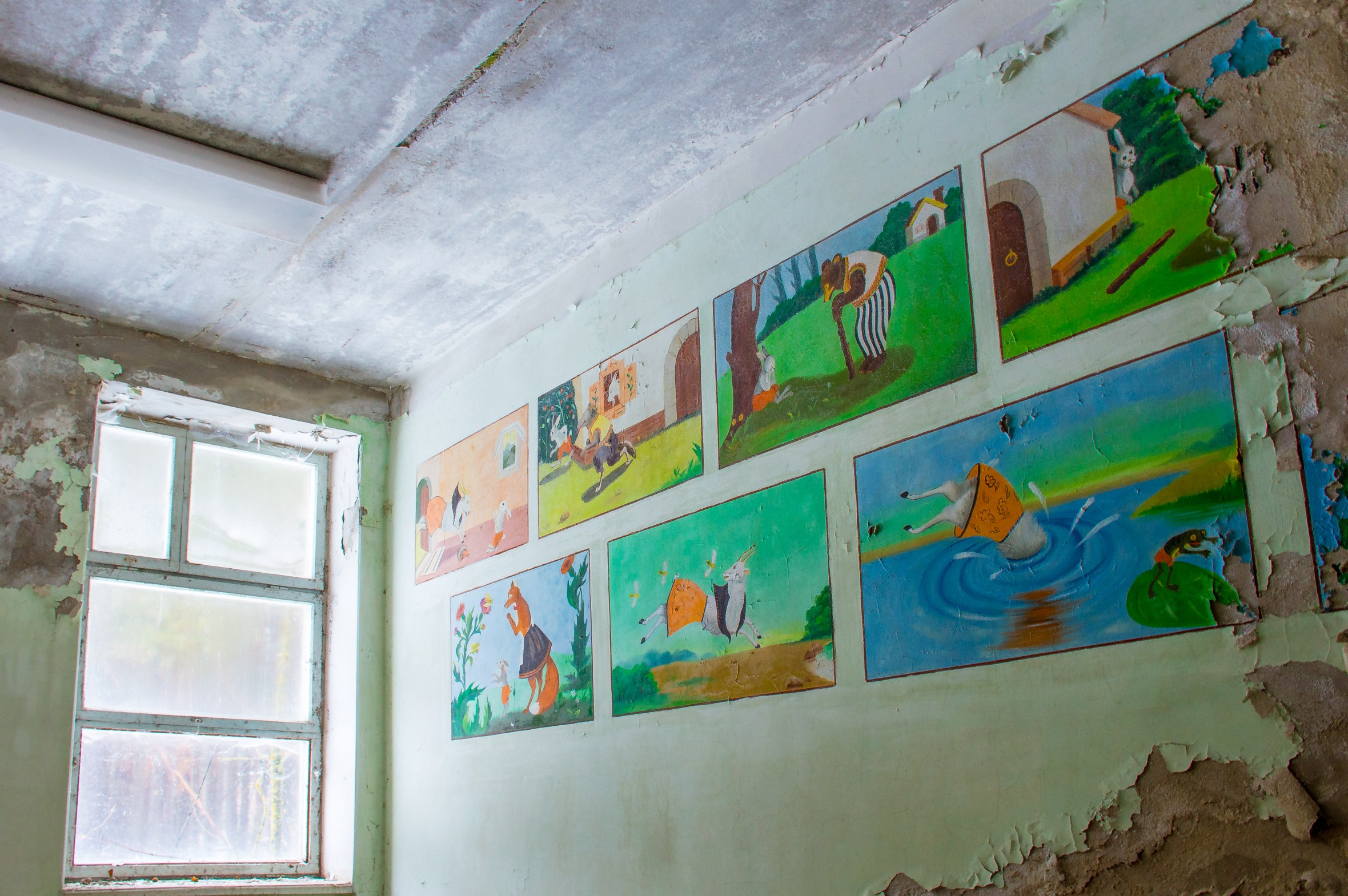 Didactic murals for children at the waiting area of Pripyat's bus station