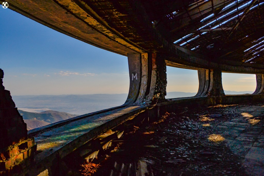 Spectacular views of the mountain range from the outer balcony of the Buzludzha monument