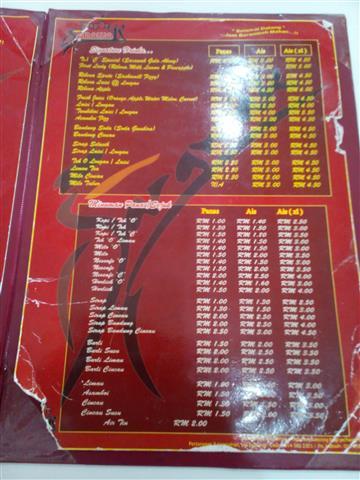 menu restoren Dapur Sarawak
