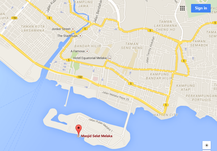 map malacca straits mosque