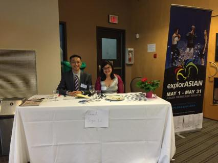 Treasurer John Leung and Coordinator Eleanor Munk at the reception table for Recognition Gala 2016